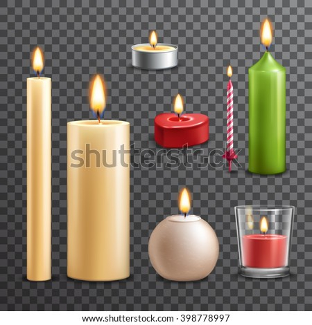 candles realistic 3d set