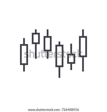 candlestick chart vector line icon, sign, illustration on background, editable strokes