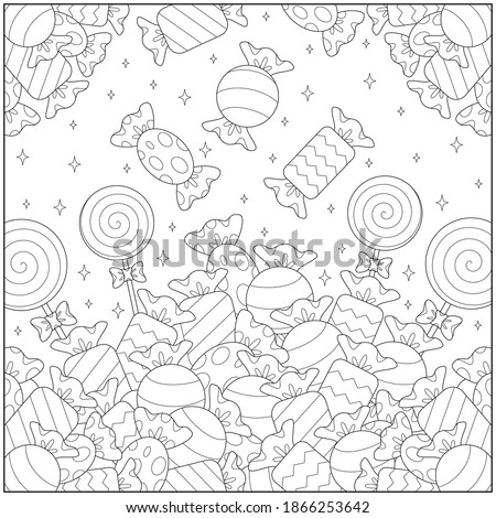 Candy and candy and more candy. learning and education coloring page illustration for adults and children. outline style, black and white drawing