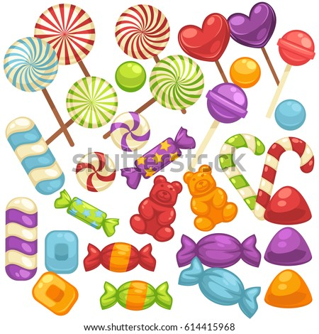 candy and caramel sweets vector