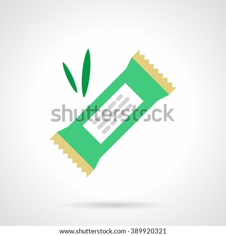 Candy bar in a green wrap and green leaves. Organic food. Vegetarian sweets. Flat color style vector icon. Web design element for site, mobile and business.
