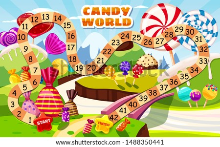 Candy Board Game for children and kids - journey through the sweet Candy World candy lollipops sweets. Vector illustration isolated cartoon style