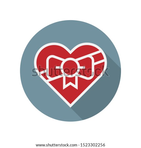 Candy box heart shape. Gift for Valentine's day. Valentine's Day chocolate flat icon with long shadow, line icon