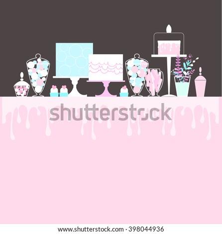 Candy Buffet with cake. Wedding dessert bar. Birthday sweet table. Vector illustration.