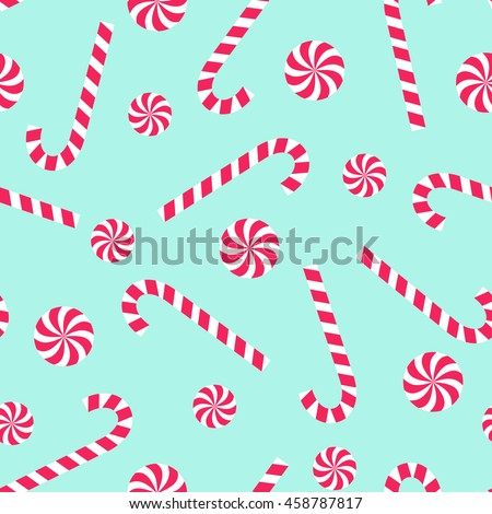 Candy cane and lollipop seamless christmas pattern on mint green background. Happy New Year and Merry Xmas background. Vector winter holidays print for textile, wallpaper, fabric, wallpaper.