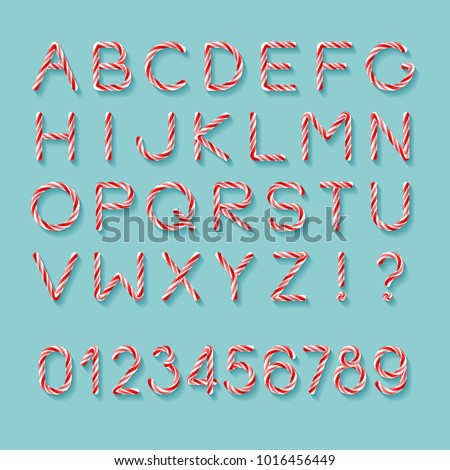 Candy Cane Font. Bright twisted red and white lollypop letters with light grey shadow isolated on mint background. Uppercase characters, numbers, exclamation, question marks. Realistic glossy style.