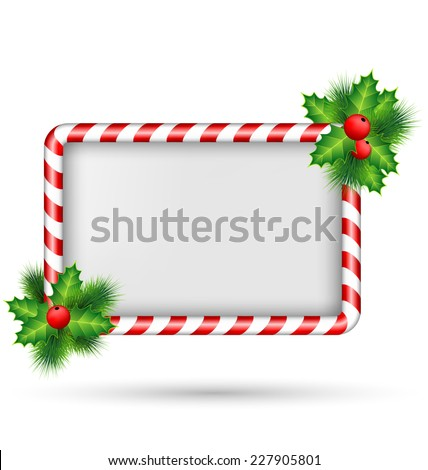 candy cane frame with holly