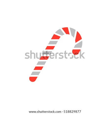 Candy cane icon vector, peppermint stick filled flat sign, solid colorful pictogram isolated on white, logo illustration