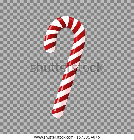 Candy cane isolated on transparent background. Traditional christmas sweet. Stock vector illustration