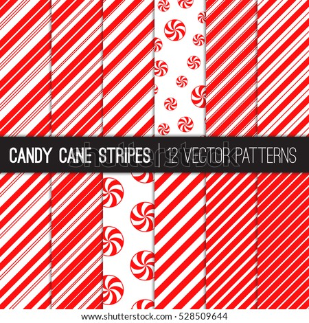 Candy Cane Stripes and Peppermints Vector Patterns in Red and White. Popular Christmas Background. Variable thickness diagonal lines. Pattern Swatches Made with Global Colors