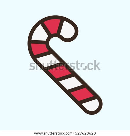 Candy Cane Sweet Minimal Color Flat Line Stroke Icon Pictogram Symbol Illustration