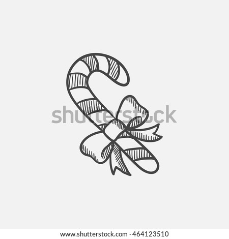 Candy cane with christmas decoration sketch icon for web, mobile and infographics. Hand drawn vector isolated icon.
