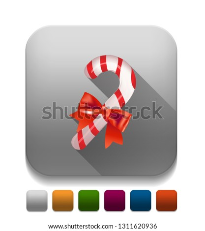 candy cane With long shadow over app button