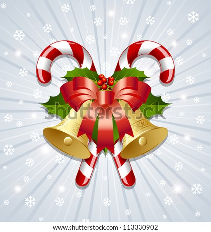 Candy canes decorated with bells, holly and ribbon on snowy background