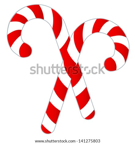 Candy Canes Isolated on White - Two candy canes isolated on a white background