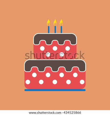 Candy card with a big chocolate cream cake with dots, burning candles on top, over peach background. Digital vector image.