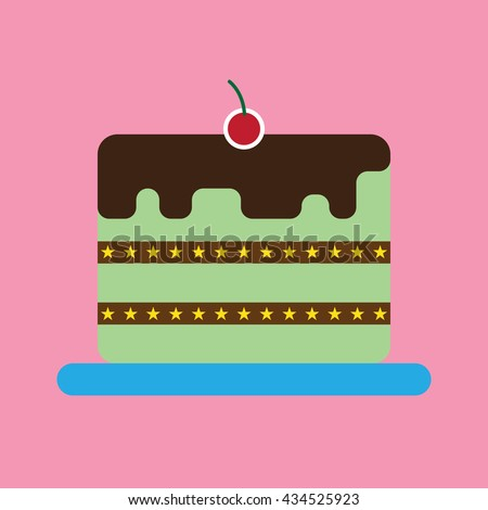 Candy card with a big chocolate cream cake with stars, a red cherry on top, over pink background. Digital vector image.