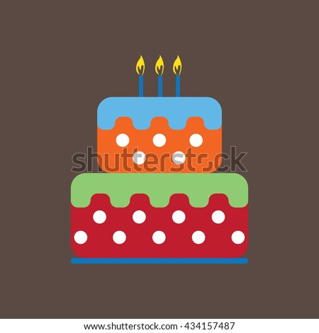 Candy card with a big fruit cream cake with white dots, burning candles on top, over brown background. Blue, yellow, red, green and orange. Digital vector image.
