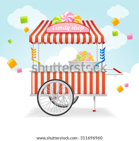 candy cart market card. sale of ...