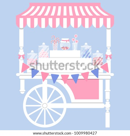 Candy cart vector illustration in flat style