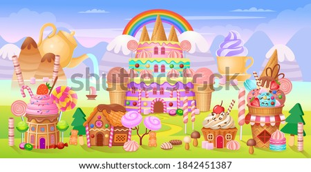 Candy city with cake castle, houses cakes, ice creams, sweets, lollipops and cookies. Panorama of candy town.Vector cartoon background for kids games.