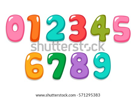 Candy color kid font numbers