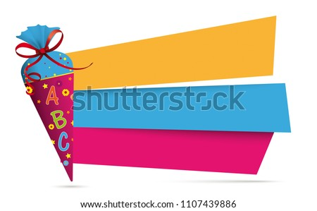Candy cone with ABC and colored paper banners on the gray background. Eps 10 vector file.
