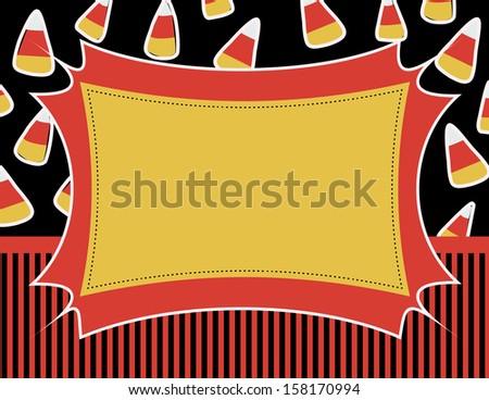 Candy Corn Invitation - Candy Corn and stripes decorate this fun Halloween invitation