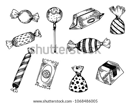Candy engraving vector illustration. Scratch board style imitation. Black and white hand drawn image.