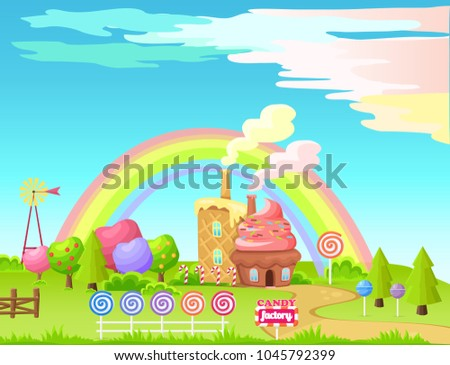 Candy factory cartoon vector concept. Fantastic landscape with cupcake and waffle houses, low poly garden, fence from candy and rainbow on background. Fairy game environment art illustration