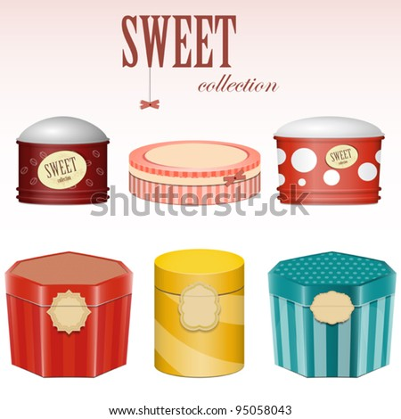 candy gift boxes with labels - vector set