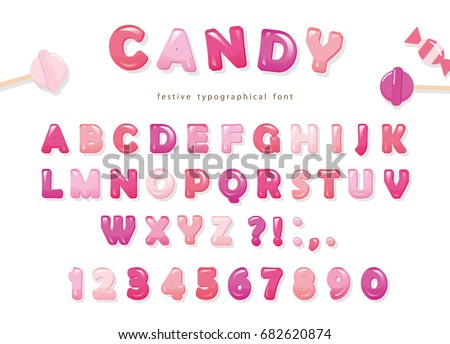 candy glossy font design