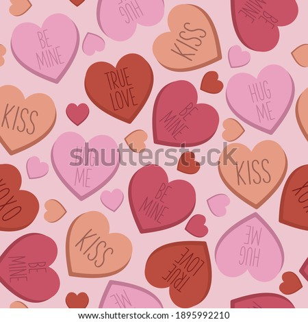 Candy heart seamless pattern, repeatable love background, valentines day surface pattern, love pills, conversation hearts