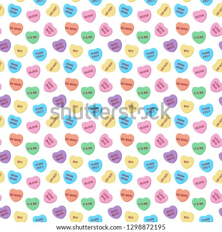 candy hearts seamless pattern