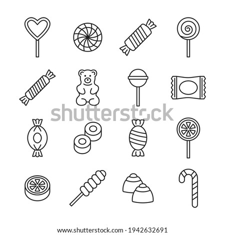 Candy icon vector set. Line collection with lollipop, sweets, caramel, candy cane, chocolate, gummy bear. Editable stroke. Stockfoto ©