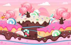 Candy land image illustration for video game background