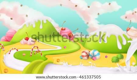 Candy land. Sweet landscape, vector 3d background