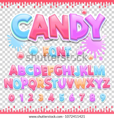 Candy Latin font design. Sweet ABC letters and numbers. Cute children alphabet.