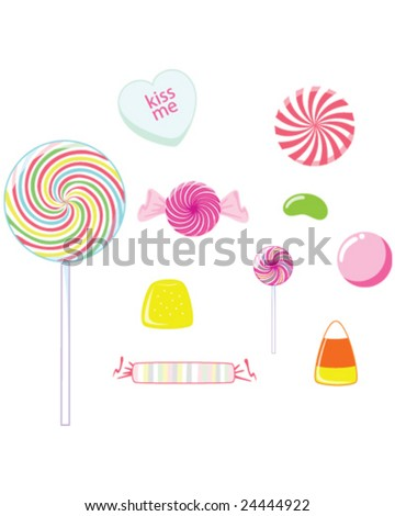 Candy - lollipops, suckers, and gummy candy isolated on white - vector illustration