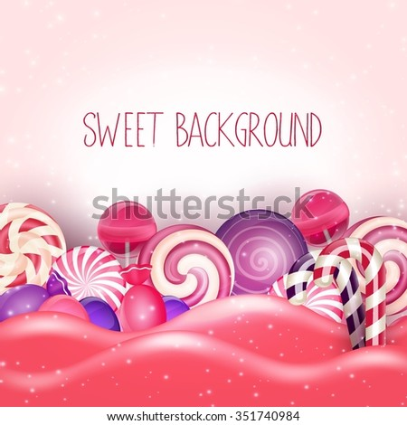Candy of pink land background.Vector