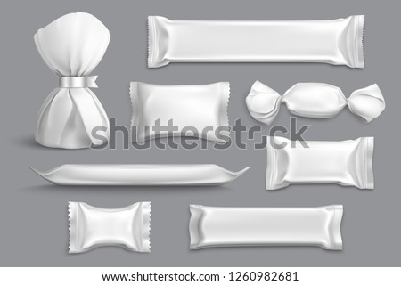 Candy packaging supplies products isolated blank mockup samples collection with foil wrappers gray background realistic vector illustration
