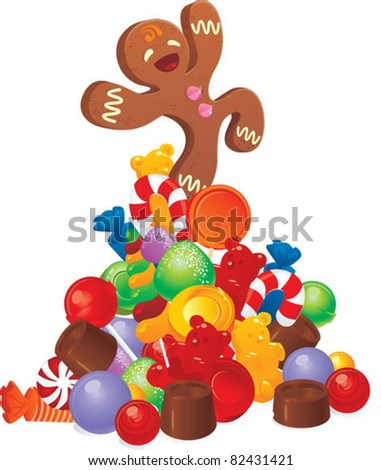 candy pile with gingerbread man