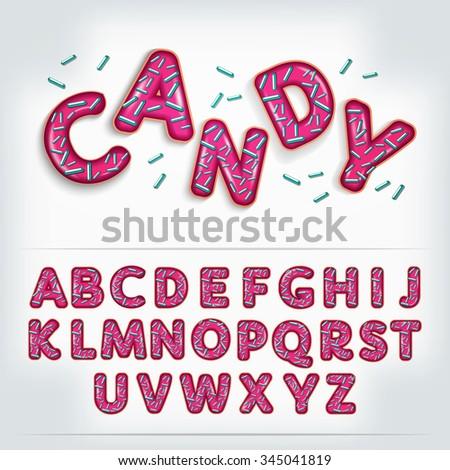 candy pink 3d alphabet font