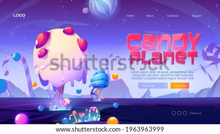 candy planet cartoon landing