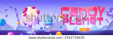 Candy planet poster with fantasy landscape with unusual trees from caramel, candy canes and lollipop. Invitation flyer to sweet store or restaurant. Vector cartoon banner of arcade game