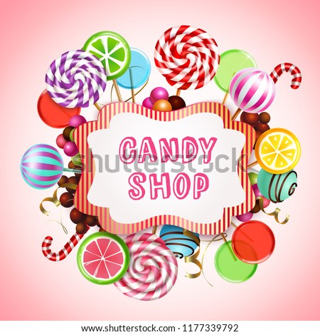 Candy shop composition with realistic images of sweet caramel products and lollies with text in frame vector illustration