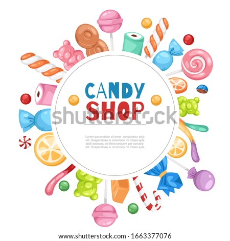 Candy shop confectionery and sweets frame with lollipop, caramel and jelly cartoon vector illustration poster. Candy shop and confectionary isolated on white background. Stock foto ©