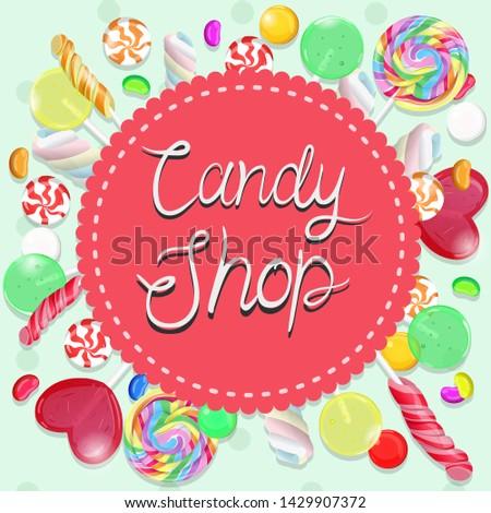 Candy shop emblem. Multicolor emblem. Vector graphics.