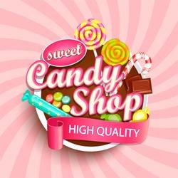Candy shop logo label or emblem for your design. Vector illustration.