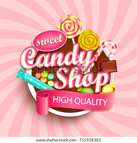 candy shop logo label or emblem